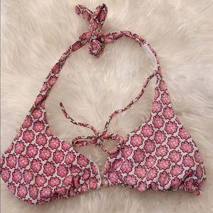Pink floral bikini top size XL